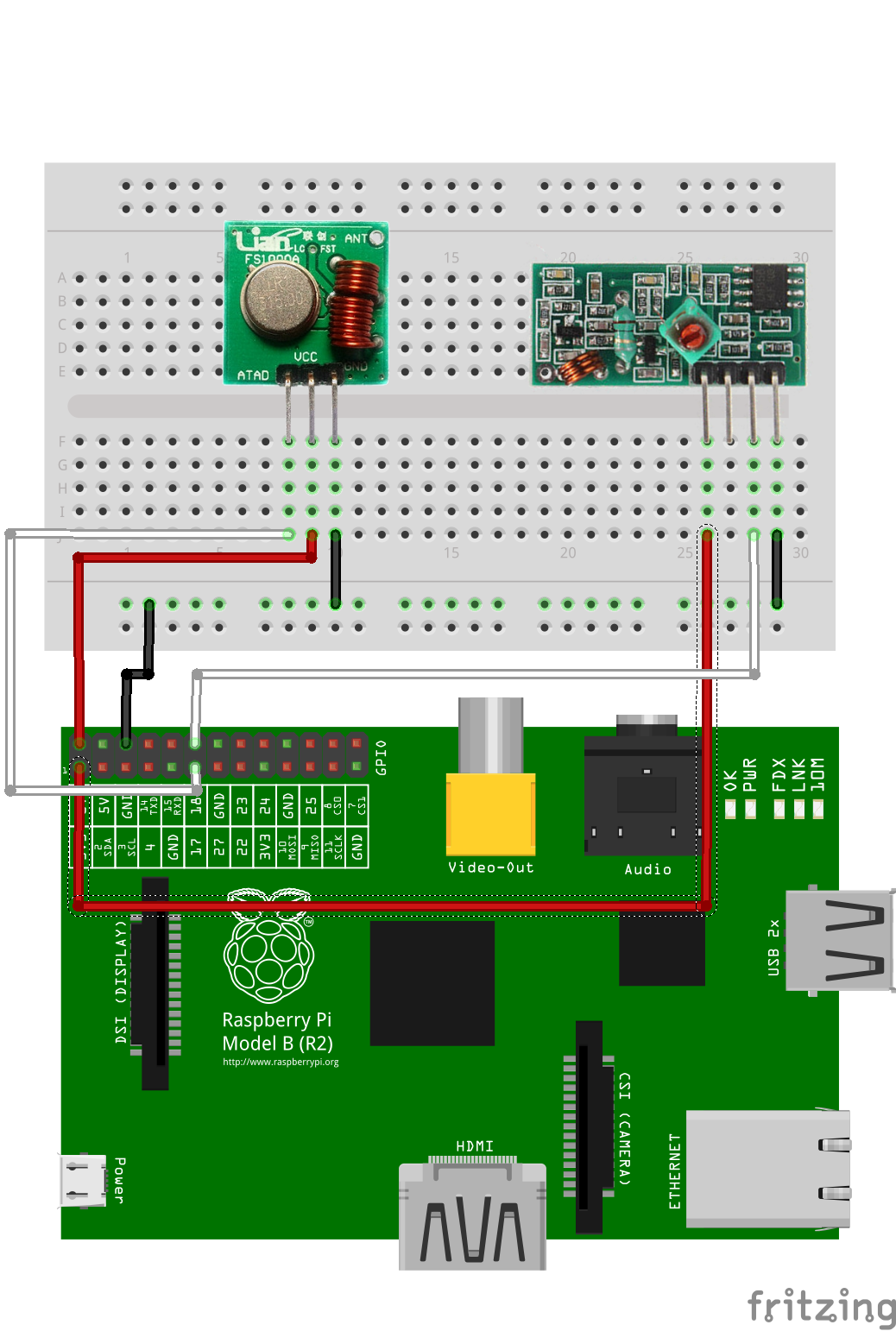 Remote Controlled Mains Sockets With Raspberry Pi Pygmalion Wiringpi Debian Package Physical Pins 11 And 12 Correspond To Bcm Gpio 17 18 As Well Pin Numbers 0 1 Lamp Rf 433 Bb
